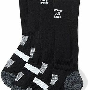 2 Pair Starter Girl's Soccer Socks, Small, Black